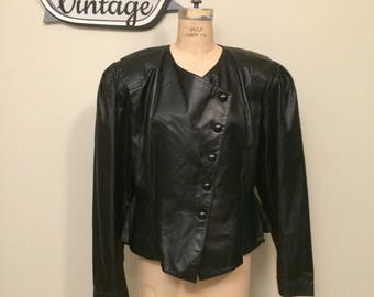 80's Black Leather Jacket with Cinched Waist Puff Sleeves | Size XL | Vintage Leather Jacket | Asymmetrical Front | Snap Front | Made in USA