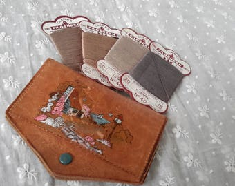 1930s Leather Sewing Kit Country Cottage Garden with Unused Thread Needlework Collectable