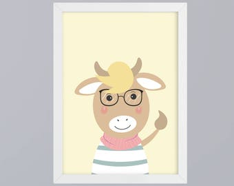 Cow with glasses - unframed art print