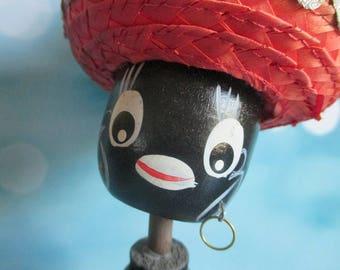 Vintage Nodder, Bobble Head, Bobblehead, Black Americana, Souvenir, Blackamoor, Puerto Rico, Wooden, Statue, Figurine, Kawaii, Kitsch, 1960s