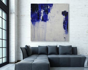 XXL Blue, Grey and White Abstract Painting / Modern Art / Large Art / Original Art / Blue and White Painting / Oversized Abstract Art