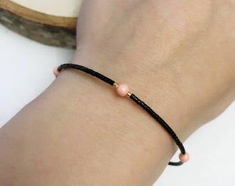Adjustable strap in pink, black and Golden Miyuki beads
