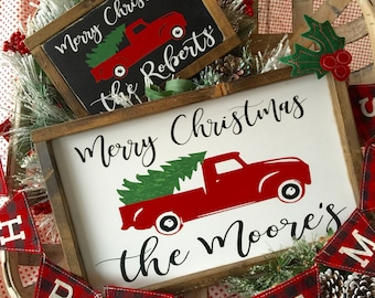 Personalized Little red Christmas tree vintage truck sign