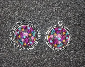 Fireworks cabochon pendant and ring set