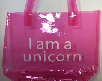 Unicorn holiday beach pink tote bag.