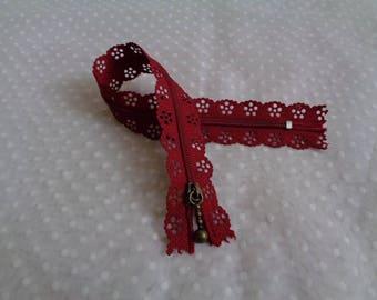 Zipper 25 cm red lace
