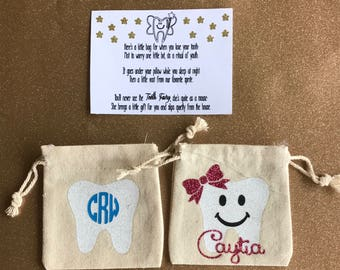 Personalized Tooth Fairy Bag, Tooth Fairy Pouch, Personalized Kid Gift, Toothfairy, Tooth Bag