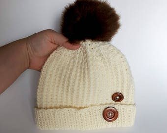 IN STOCK, Sanya's aran hat for teen/small adult, knitting hat, wool hat, brown faux fur pompom, winter hat, crochet hat, brown wood buttons