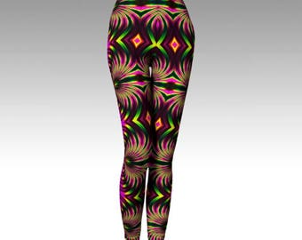 Psychedelic Leggings, Psychedelic Capris, Activewear, Psy Clothing, Festival Clothing, Hooping Leggings, Yoga Leggings, Yoga Pants, Printed