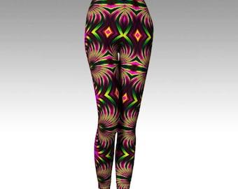 Psychedelic Leggings, Psychedelic Capris, Activewear, Psy Clothing, Festival Clothing, Hooping Leggings, Yoga Leggings, Yoga Pants, Printed