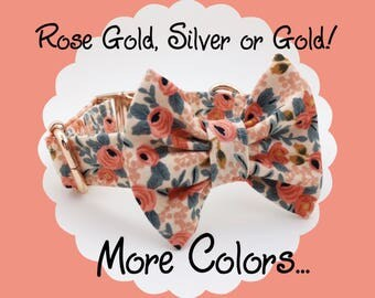 ROSE GOLD, Silver or GOLD! Rifle Paper Co. Rosa Floral & Bow Dog or Puppy Collar