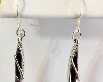 FREE SHIPPING- USA Only!! Native American Style Canoe with Paddle Sterling Silver Earrings
