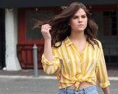 Vintage Silk Striped Shirt ~ Blouse Yellow White ~ Minimalist 80s/90s ~ Size Medium