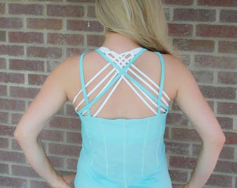 Mint Green Crossback Mesh Tank