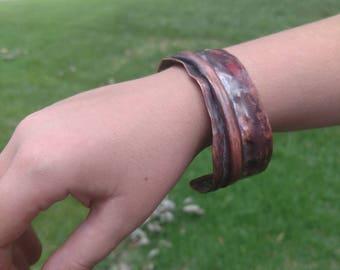 Copper cuff bracelet, fold formed bracelet, copper bracelet, copper arm band, copper jewelry, fashion bracelet, hammered copper, custom