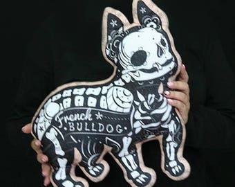 Day of the Dead French Bulldog Sugar Skull Halloween decor  Halloween decoration  Dog pillow Halloween Home Decor Halloween Pillow
