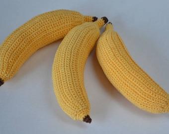 1 Pcs - Crochet banana/teether teeth/Amigurumi kitchen play set/play food/kitchen decoration/crochet fruit/educationtoys