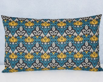 Teal, mustard, grey and black - 50 x 30 cm - fabric flowers and geometric patterns - Cushion cover