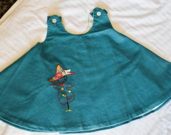 Vintage SARAH KONEL Blue Corduroy, Scarecrow, Toddler Dress