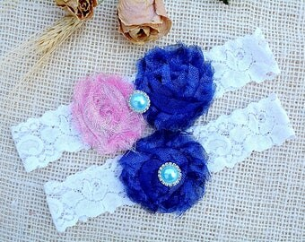 Glitter Blue Garter, White Garter Lace, Pearl Cristal Garter, Lace Wedding Garter Set, Something Blue, Blue Garter Set, Sapphire Blue Garter