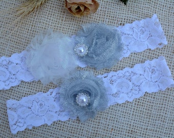 Garter Grey Flower, White Glitter Garter, Grey Bridal Set, Silver Garter, Garter Grey, Garter For Brides, Keep Garter, Grey Bridal Garter