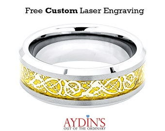 Shiny Beveled Edge with Golden Celtic Dragon Cut-out Inlay 8mm Tungsten Carbide Wedding Ring