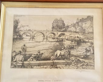 A lepere 1902 wood engraving signed by Auguste Lepere himself in pencil