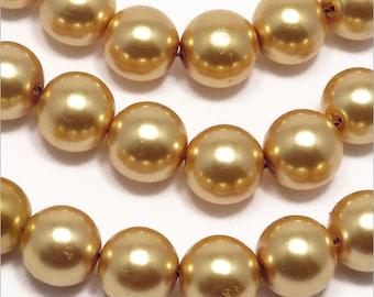 20 10mm gold Czech glass pearl beads