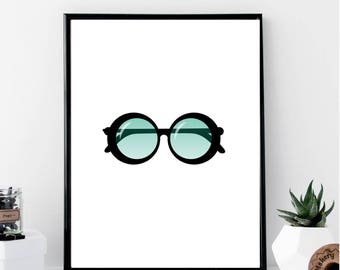 Round Sunglasses Print // Minimalist // Wall Art // Typography // Fashion // Scandinavian // Boho // Modern Office