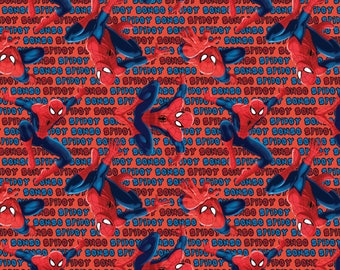 IN STOCK New Marvel Fabric, Spider-Man Fabric: New Spiderman Spidey Scene Red 100% cotton fabric (SC393)