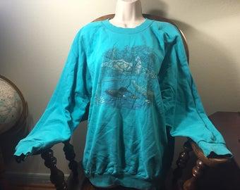 1990's Teal Green Duck Sweatshirt Windbreaker Vintage 80s 90s clothing sweatshirt sweater