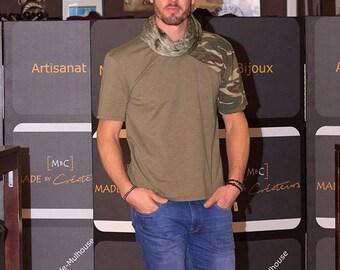 T-shirt men asymmetrical military khaki round neck