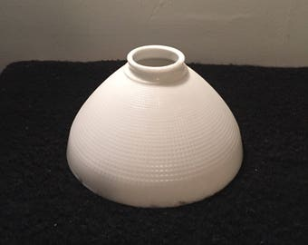 Vintage Milk Glass Lamp Shade - White Mid Century Torchiere Diffuser