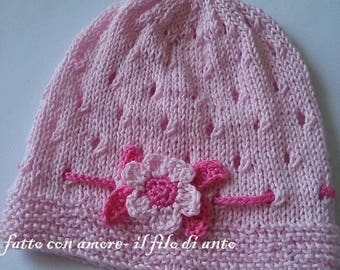 Pink cotton hat with flower