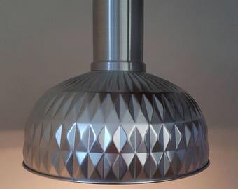 Vintage Ikea industriële  hanglamp aluminium met plafondkap
