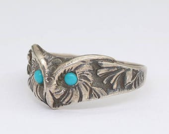vintage silver owl ring with turquoise blue eyes, owl jewelry, owl ring, animal ring, owl lover gift, turquoise jewelry, free shipping