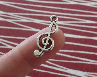 Music Note Charms, Antique Silver Treble Clef Charms, Treble Clef Pendants, Music Note Pendants, Necklace Charms, Bracelet Charms