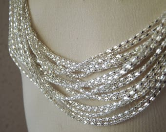 Necklace Chain, 2mm Round Hollow Mesh Chain with Lobster Clasp, 20.5 inch Silver Plated Steel Chain, Hollow Snake Chain
