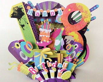 Beautiful indicately cut, colourful,18th birthday pop up card