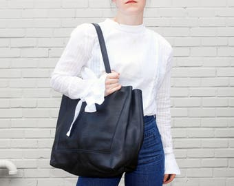 Jane Oversized Leather Tote Bag, Distressed Leather Tote, Pebbled Leather Tote Bag