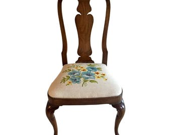 French Provinical Style Needlepoint Accent Desk Chair by Kindel