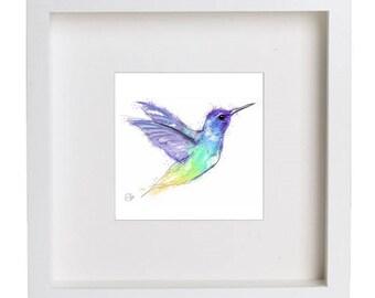 Framed hummingbird print // hummingbird print // hummingbird art // hummingbird drawing // colourful hummingbird art // colourful bird print