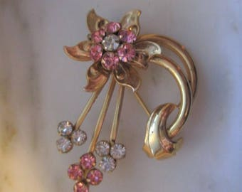 Vintage Gold Tone and Pink & White Rhinestones Flower Pin or Brooch