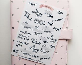 Negative/Curse Words Planner Stickers