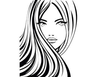 Woman Fashion #2 Model Hair Style Clothing Clothes Design Sewing Sew .SVG .EPS .PNG Digital Clipart Vector Cricut Cut Cutting Download File
