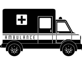 Ambulance #1 EMT Emergency Medical Technician Vehicle Doctor Physician Hospital .SVG .EPS Digital Clipart Vector Cricut Cut Cutting Download