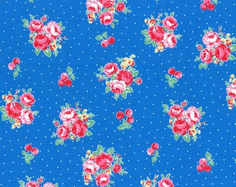 1 yard Blue Floral and Dots cotton fabric from Lecien Flower,Sugar and Berry collection Fall 2017