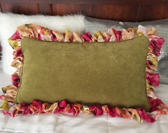 Olive drab velvet custom decorative pillow with  rich multi colored  silk (Crepe de Chine ruffles) and self cord