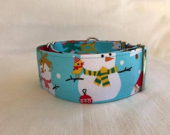 The Snowman Martingale Dog Collar