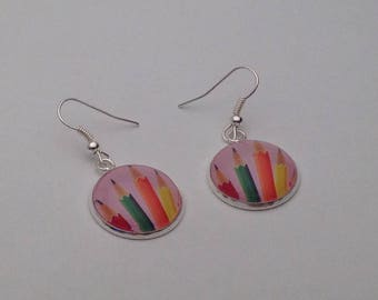 """Crayons"" glass cabochon Silver earrings"